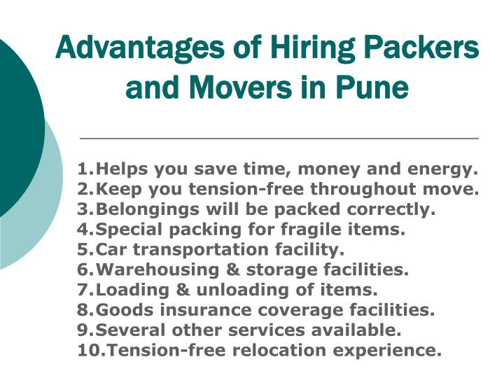 Advantages of hiring packers and movers in pune