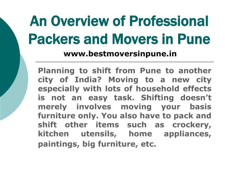 An overview of professional packers and movers in pune