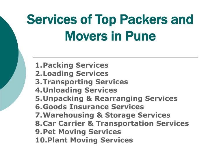 Services of top packers and movers in pune