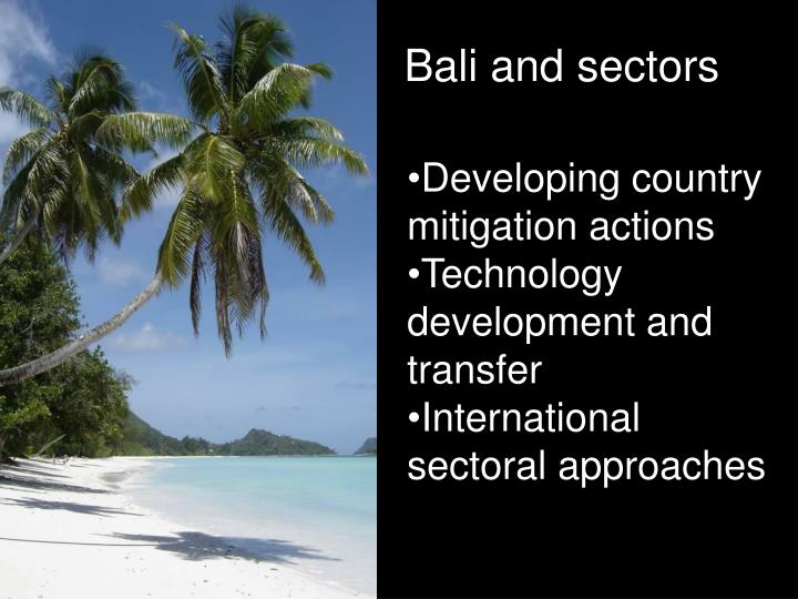 Bali and sectors