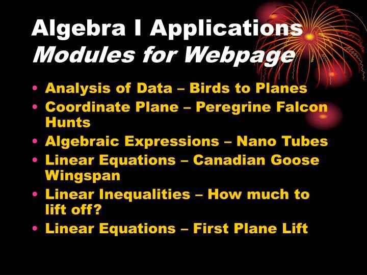 Algebra I Applications