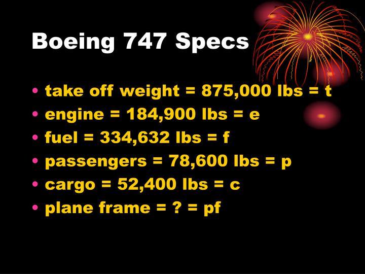 Boeing 747 Specs