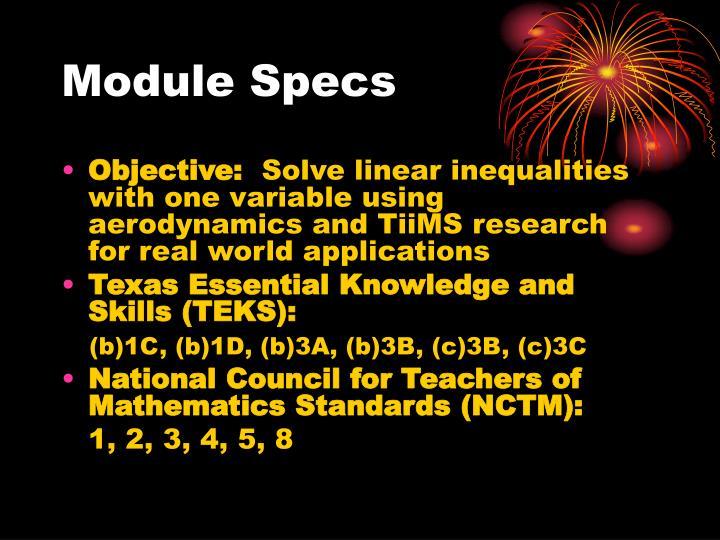 Module Specs