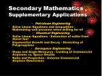 secondary mathematics supplementary applications