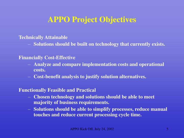 APPO Project Objectives
