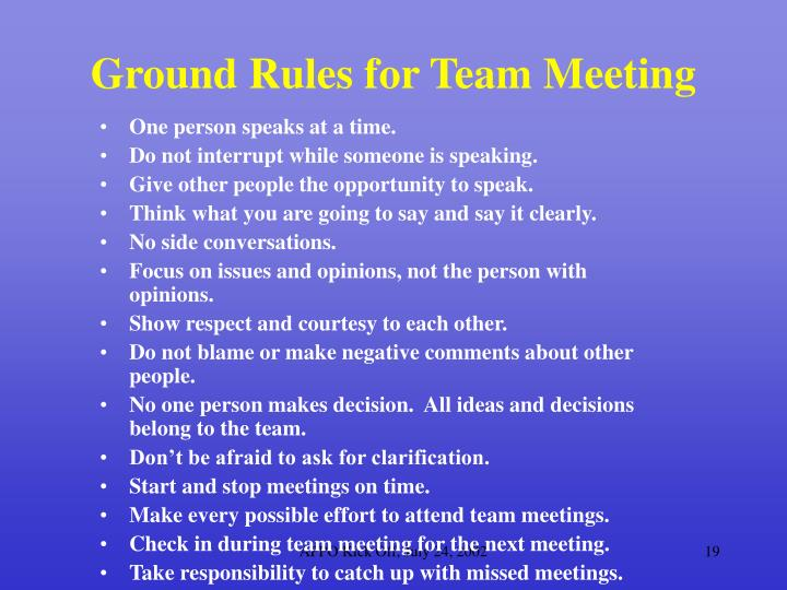 Ground Rules for Team Meeting