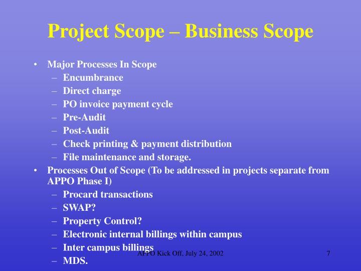Project Scope – Business Scope