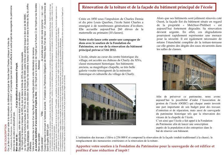 Rénovation de la toiture et de la façade du bâtiment principal de l'école