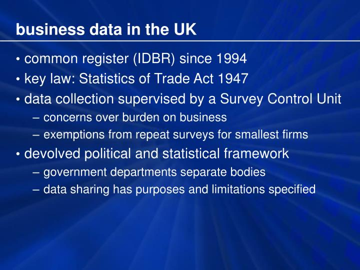 business data in the UK