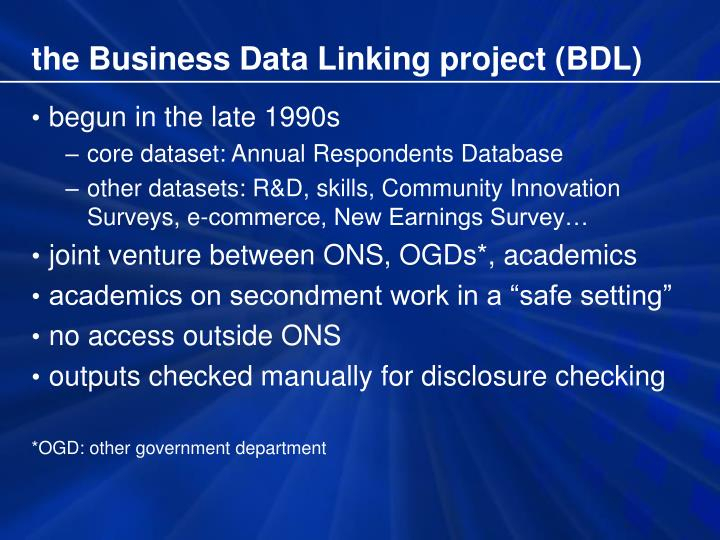 the Business Data Linking project (BDL)