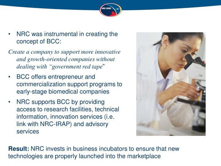 NRC was instrumental in creating the concept of BCC: