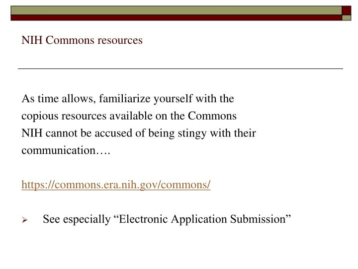 NIH Commons resources
