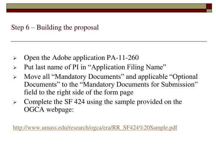 Step 6 – Building the proposal