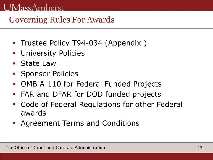 Governing Rules For Awards