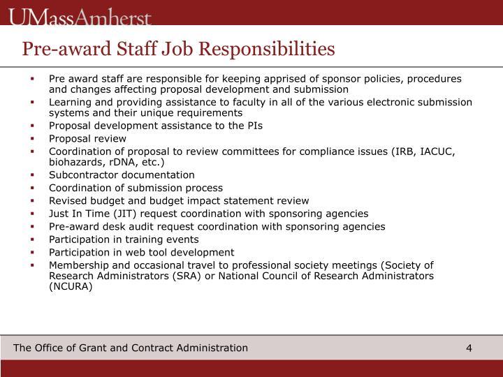 Pre-award Staff Job Responsibilities