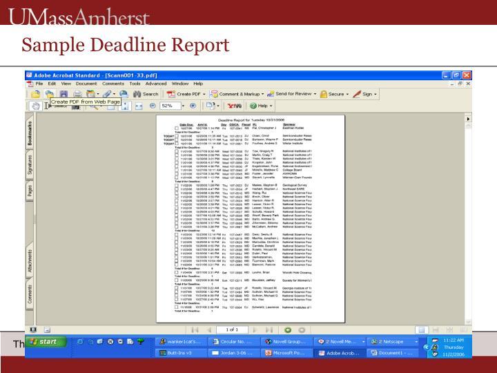 Sample Deadline Report