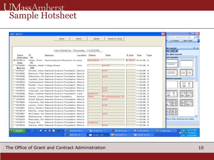 Sample Hotsheet
