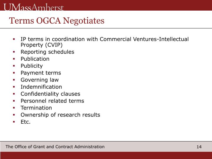 Terms OGCA Negotiates