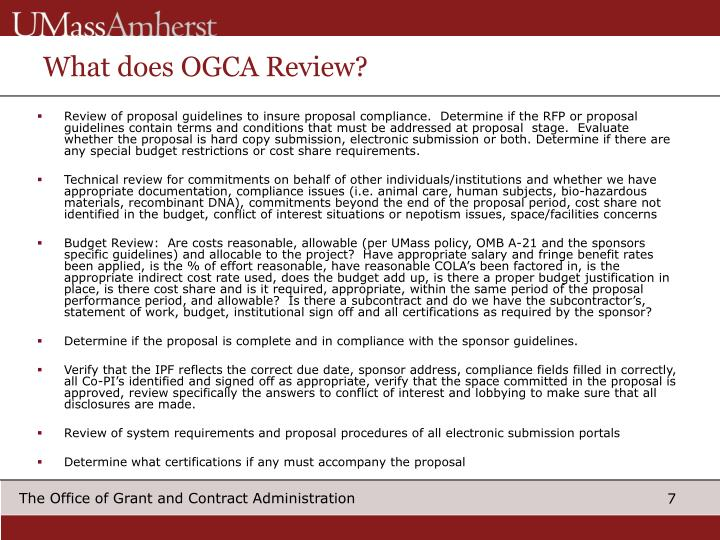 What does OGCA Review?