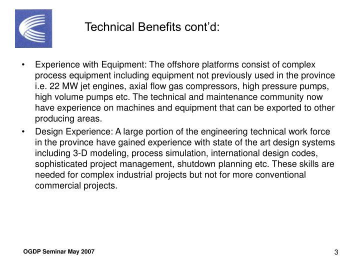 Technical Benefits cont'd: