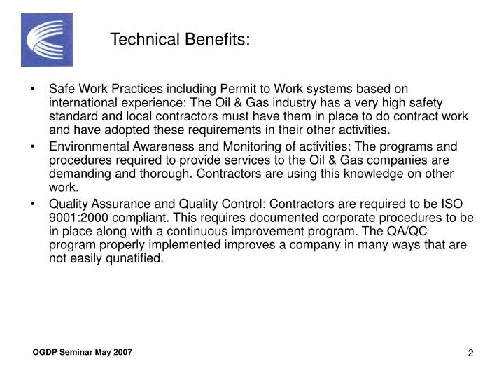 Technical Benefits:
