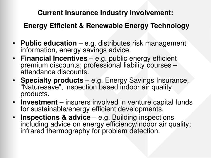 Current Insurance Industry Involvement: