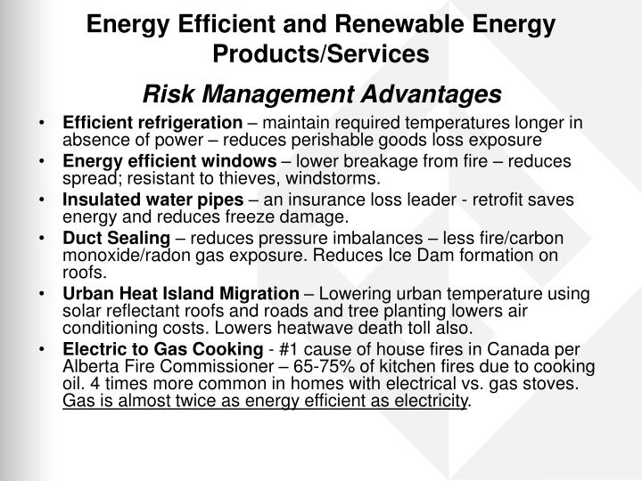 Energy Efficient and Renewable Energy Products/Services