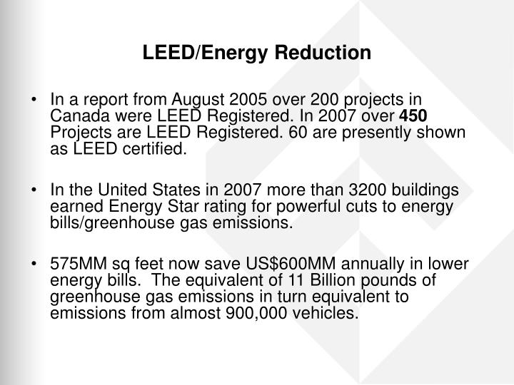 Leed energy reduction