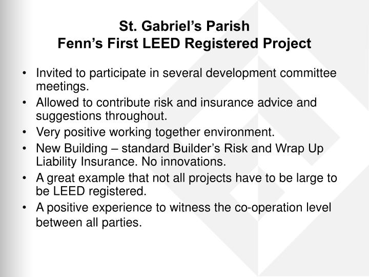 St gabriel s parish fenn s first leed registered project