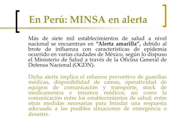 En Perú: MINSA en alerta