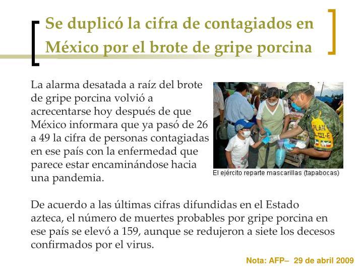 Se duplicó la cifra de contagiados en México por el brote de gripe porcina