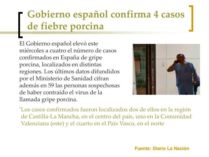 Gobierno español confirma 4 casos de fiebre porcina