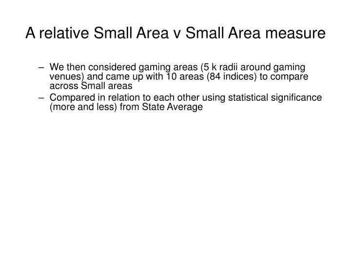A relative Small Area v Small Area measure