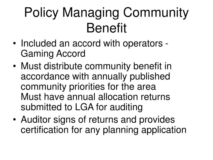 Policy Managing Community Benefit