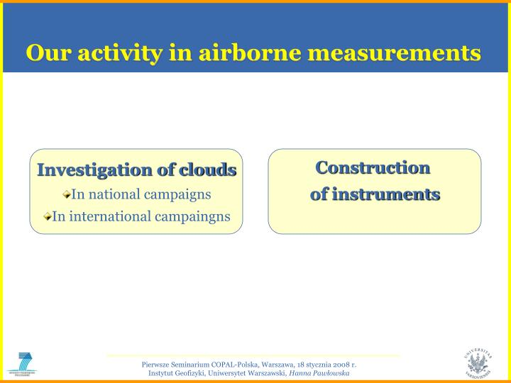 Our activity in airborne measurements