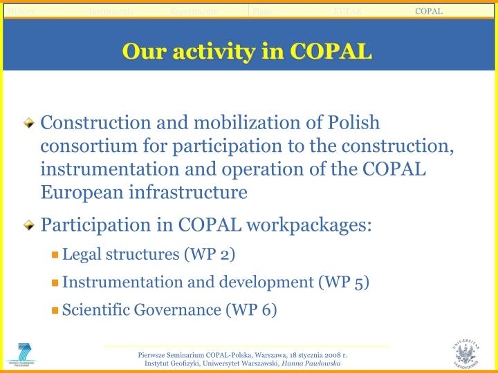 Our activity in COPAL