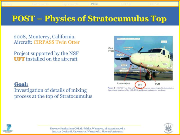POST – Physics of Stratocumulus Top