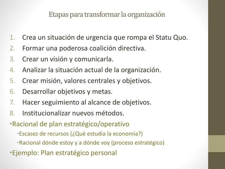 Etapas para transformar la organización