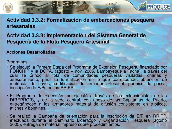 Actividad 3.3.2: Formalización de embarcaciones pesquera artesanales