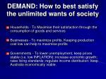 demand how to best satisfy the unlimited wants of society