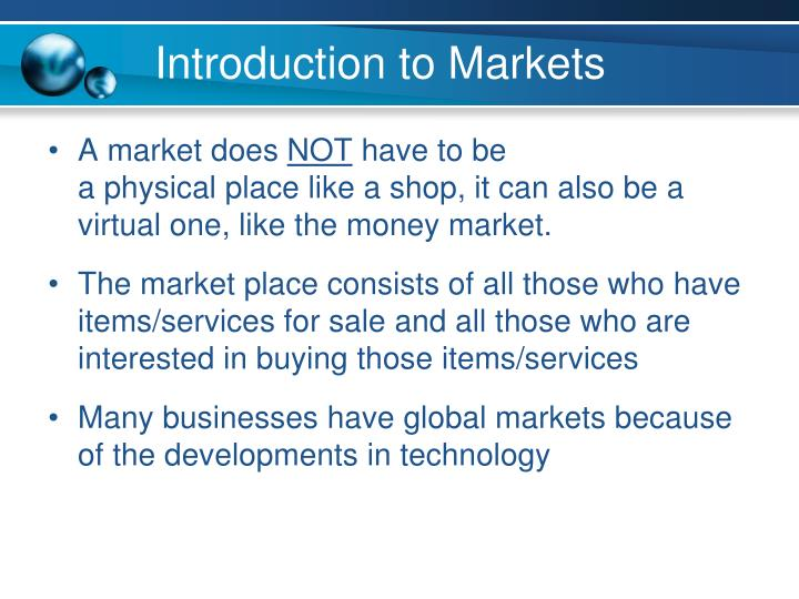 Introduction to Markets