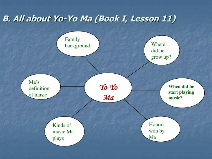 B. All about Yo-Yo Ma (Book I, Lesson 11)
