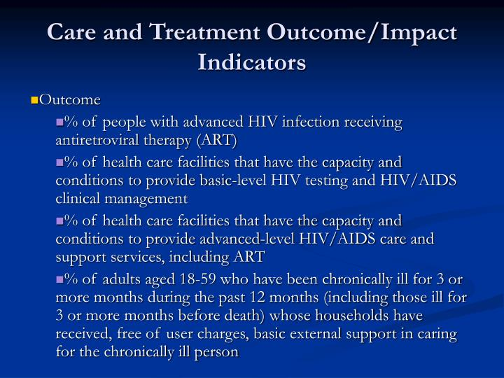 Care and Treatment Outcome/Impact Indicators