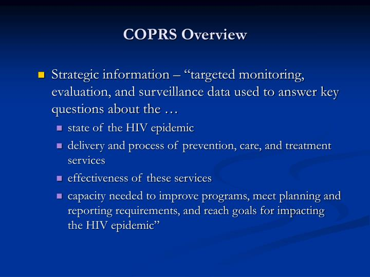 COPRS Overview