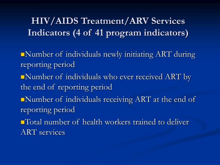 HIV/AIDS Treatment/ARV Services Indicators (4 of 41 program indicators)