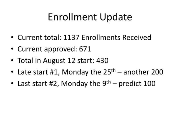 Enrollment Update