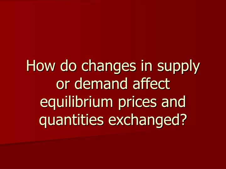 How do changes in supply or demand affect equilibrium prices and quantities exchanged