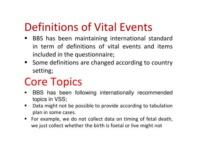 Definitions of Vital Events