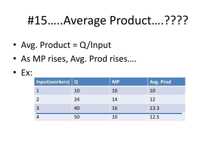 #15…..Average Product….????