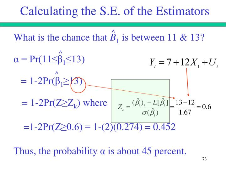 Calculating the S.E. of the Estimators